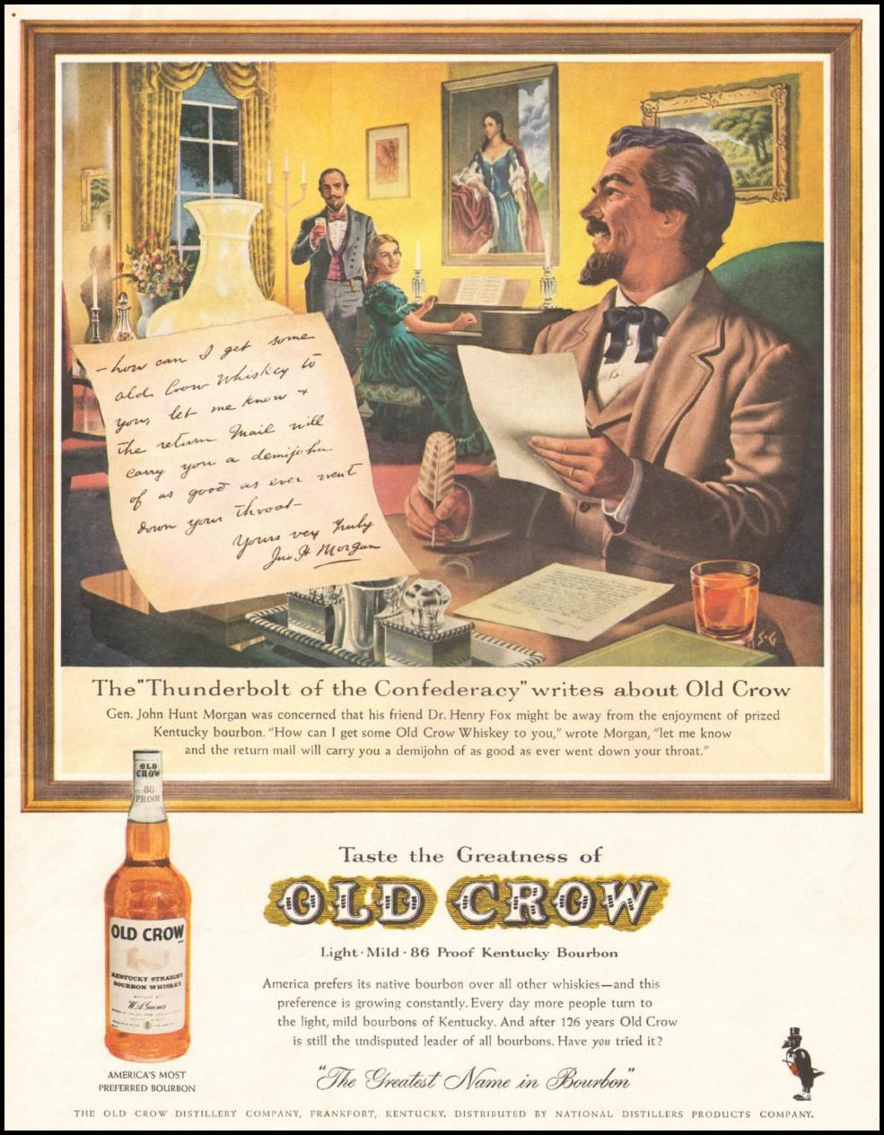 OLD CROW BOURBON WHISKEY LIFE 05/05/1961 INSIDE BACK