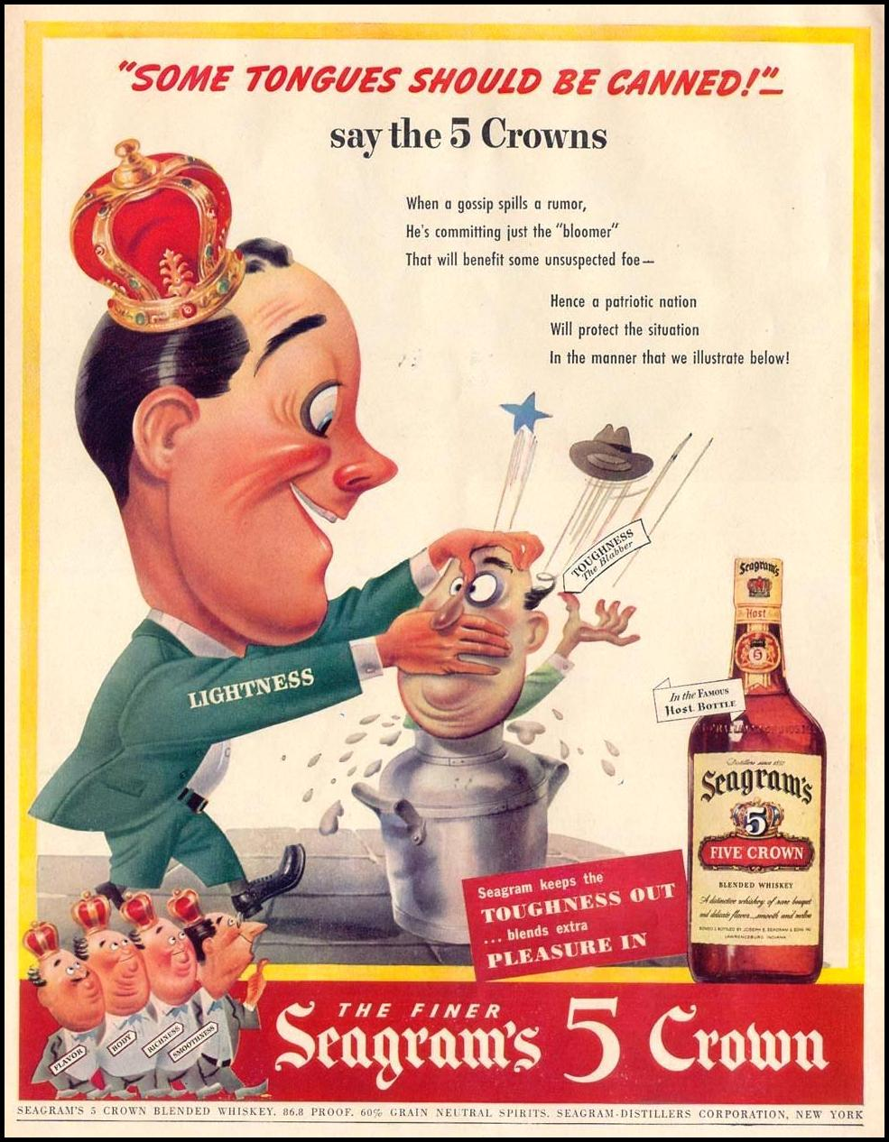 SEAGRAM'S 5 CROWN BLENDED WHISKEY LIFE 11/08/1943