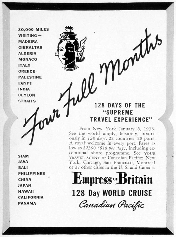 EMPRESS OF BRITAIN 128 DAY WORLD CRUISE LIFE 08/09/1937 p. 93
