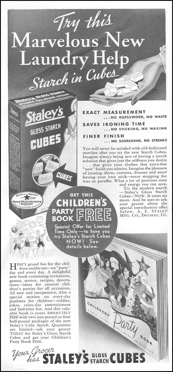 STALEY'S GLOSS STARCH CUBES GOOD HOUSEKEEPING 04/01/1936 p. 262
