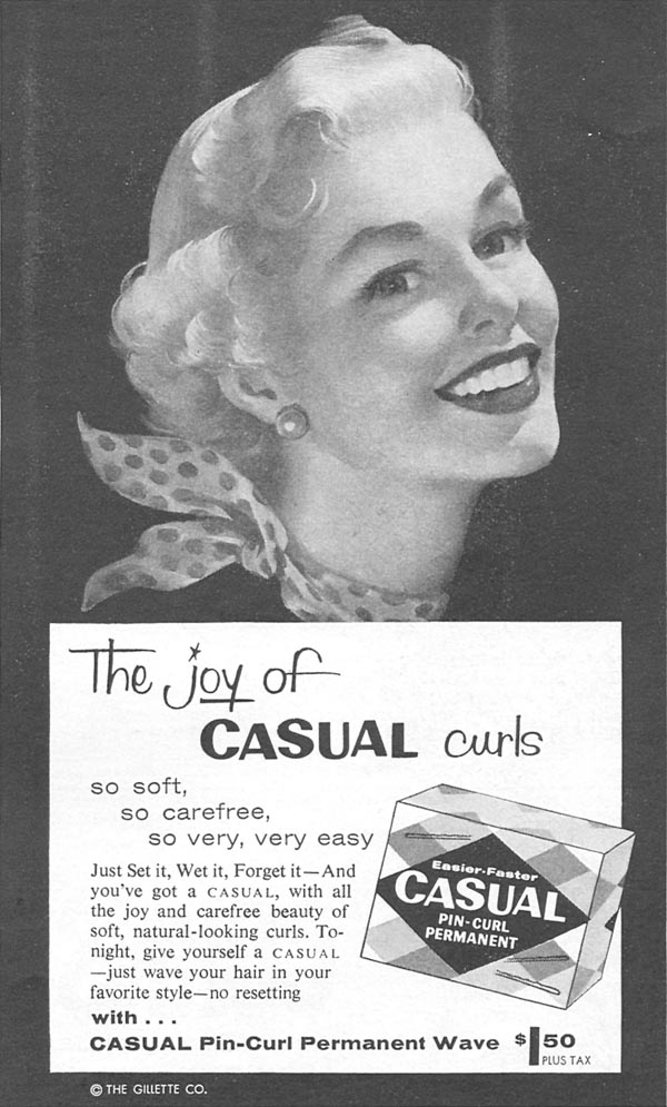 CASUAL PIN-CURL PERMANENT WAVE KIT WOMAN'S DAY 04/01/1956 p. 109