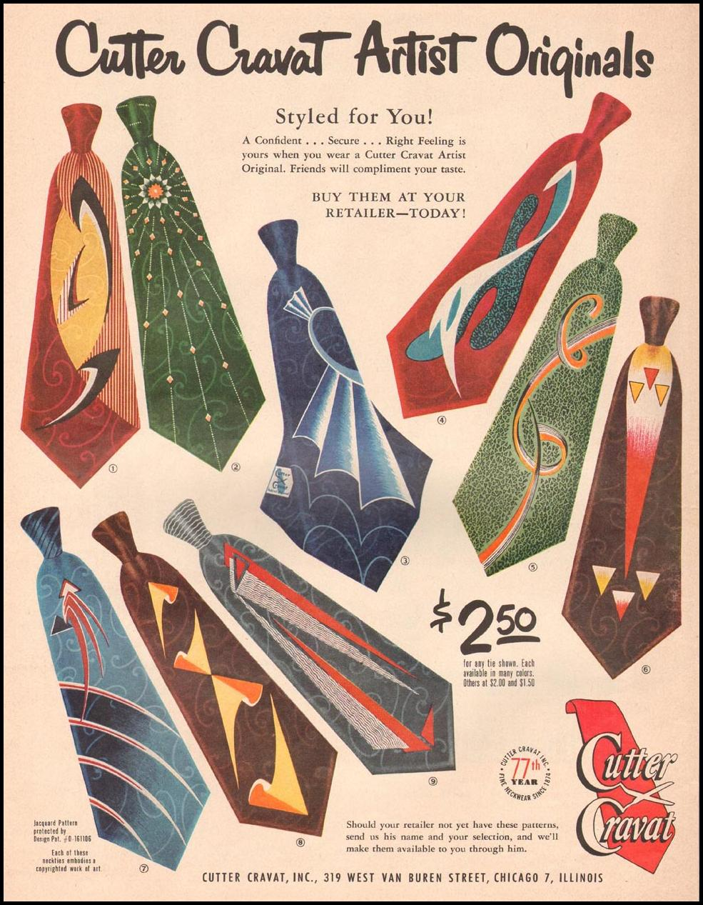 CUTTER CRAVAT ARTIST ORIGINALS LIFE 09/03/1951
