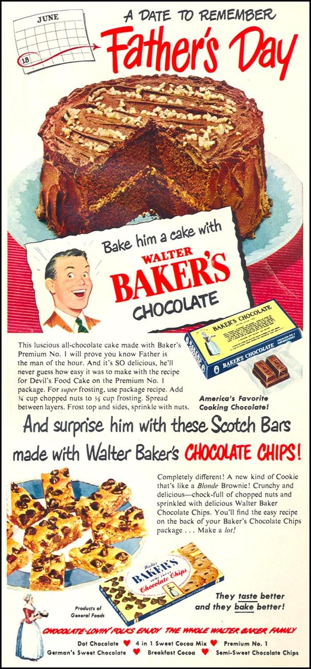 WALTER BAKER'S CHOCOLATE WOMAN'S DAY 06/01/1950 p. 31
