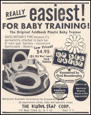 UP SEE DAISY PLASTIC BABY TRAINER GOOD HOUSEKEEPING 07/01/1949 p. 202