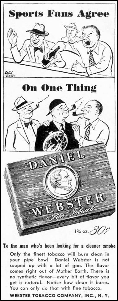 DANIEL WEBSTER PIPE TOBACCO SATURDAY EVENING POST 10/06/1945 p. 110