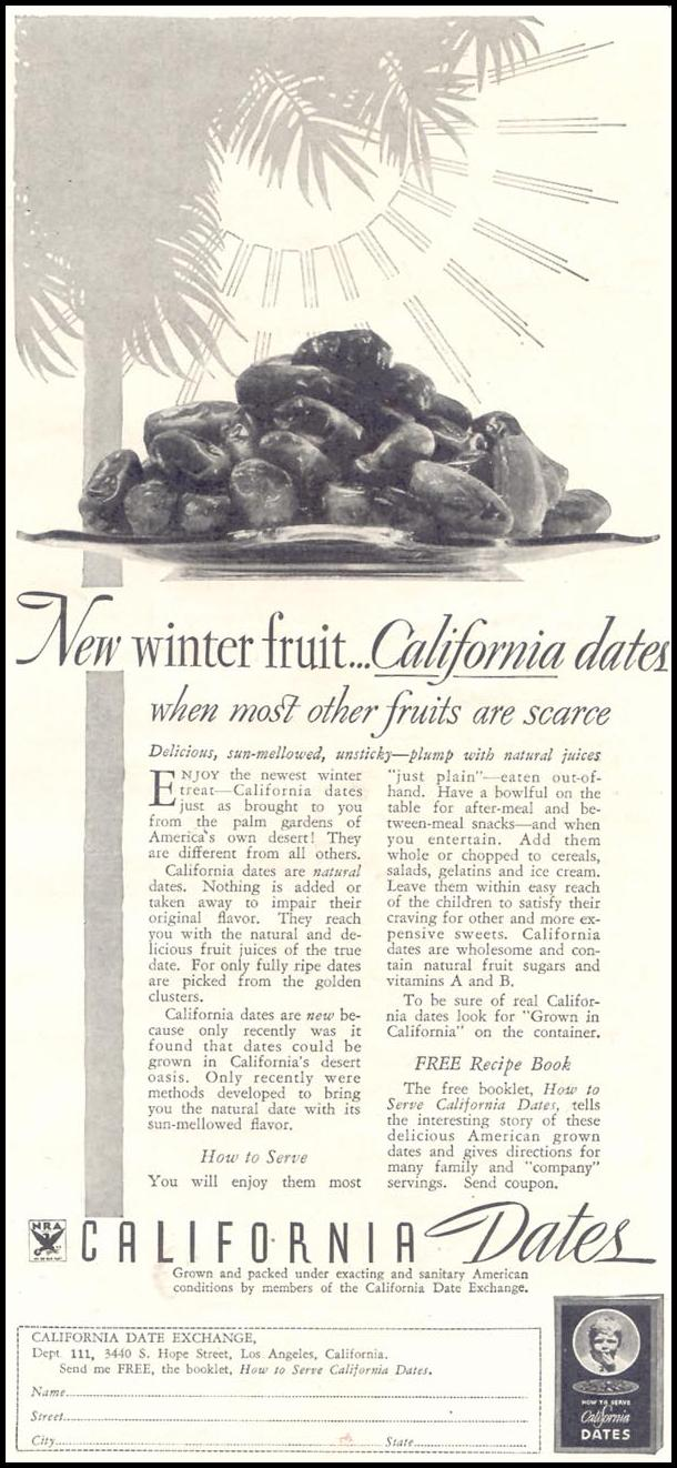 CALIFORNIA DATES GOOD HOUSEKEEPING 11/01/1933 p. 225