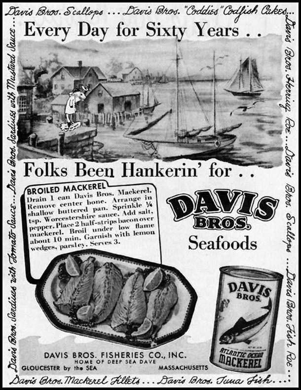 DAVIS BROS. SEAFOODS LADIES' HOME JOURNAL 07/01/1949 p. 140