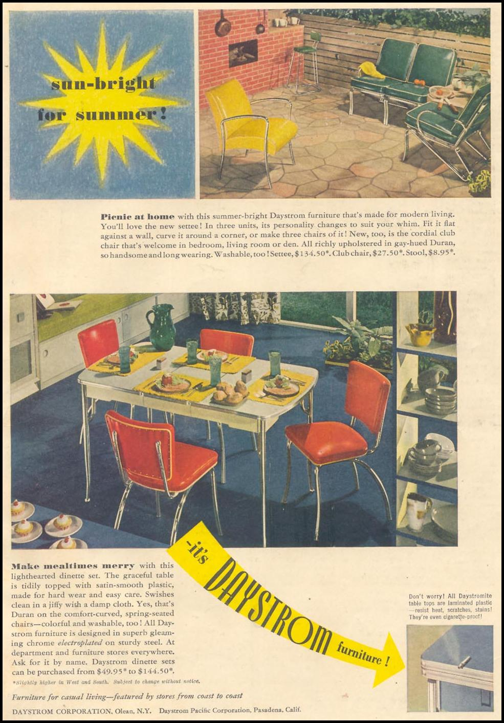 DAYSTROM CHROME FURNITURE GOOD HOUSEKEEPING 07/01/1949 INSIDE BACK