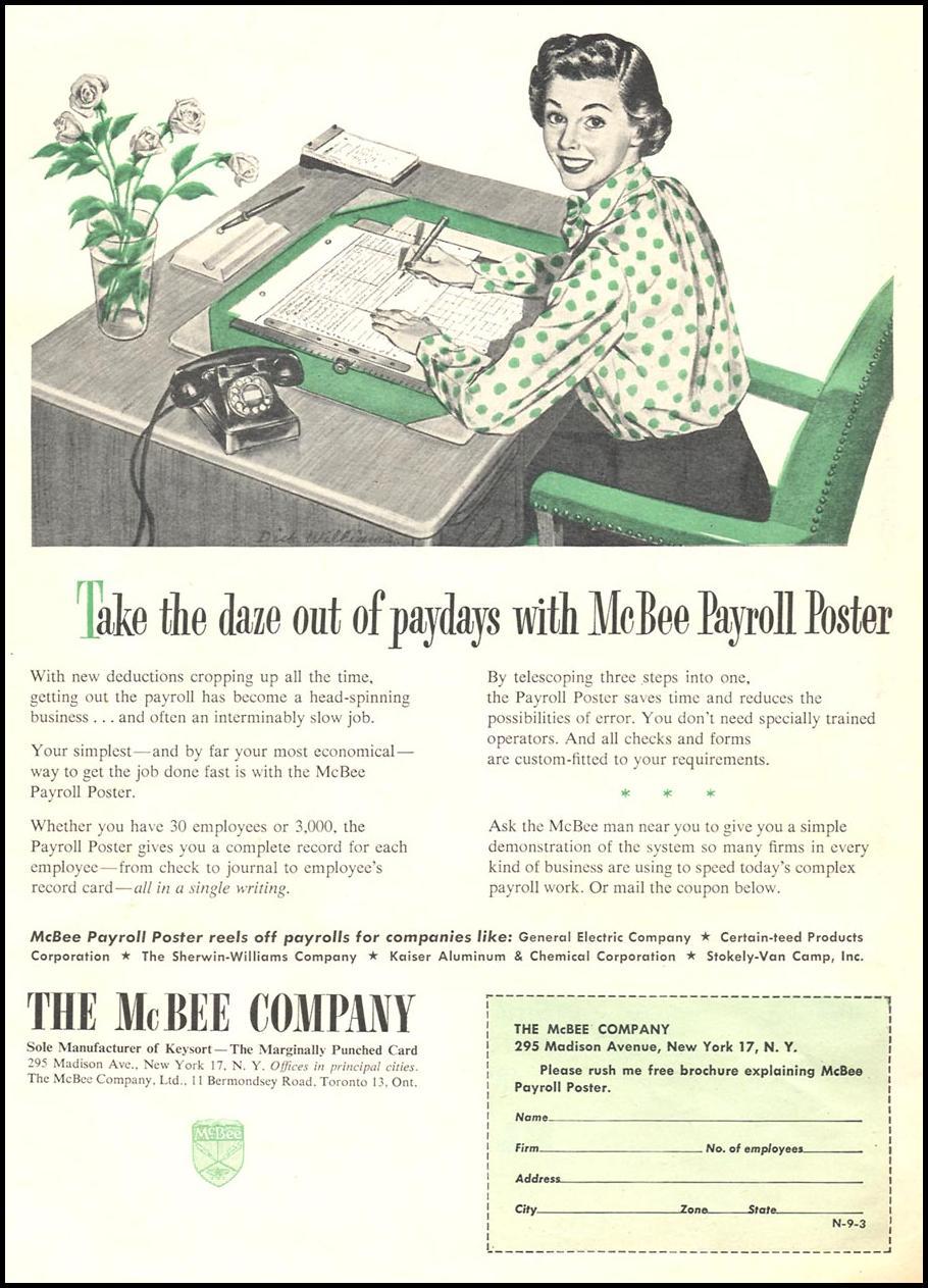 MCBEE PAYROLL POSTER NEWSWEEK 09/03/1951 p. 50