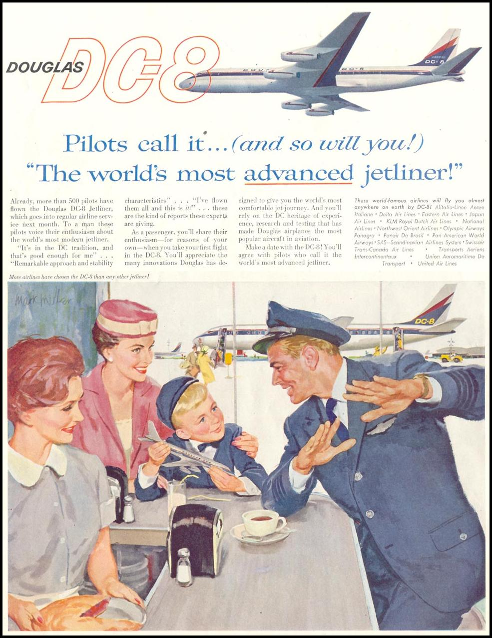 DOUGLAS DC-8 JETLINER SATURDAY EVENING POST 08/15/1959