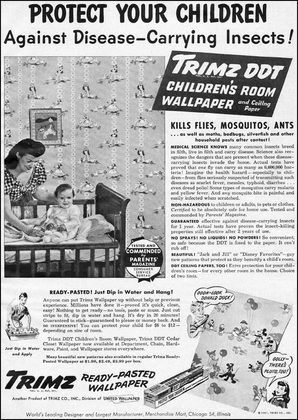 TRIMZ DDT WALLPAPER WOMAN'S DAY 06/01/1947 p. 69
