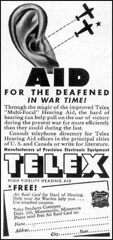 TELEX HIGH FIDELITY HEARING AID TIME 02/16/1942 p. 42