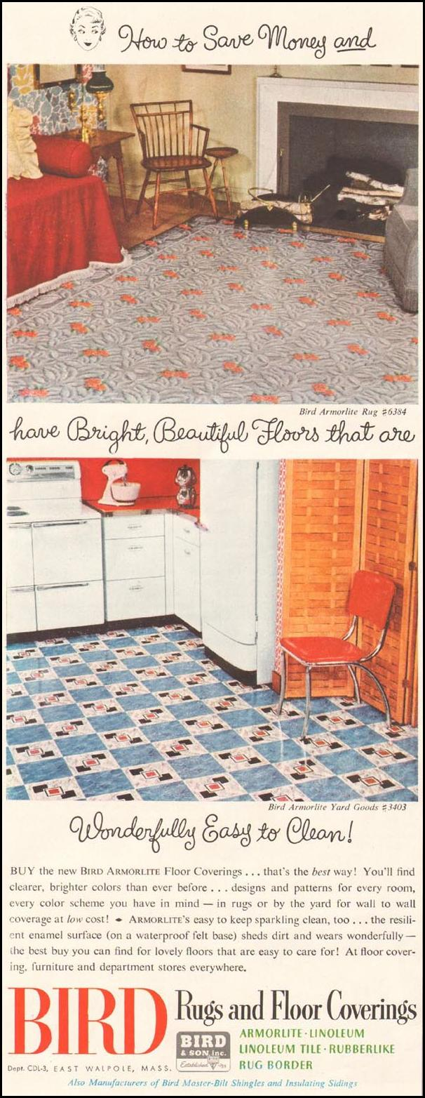 BIRD RUGS AND FLOOR COVERINGS LADIES' HOME JOURNAL 11/01/1950 p. 198