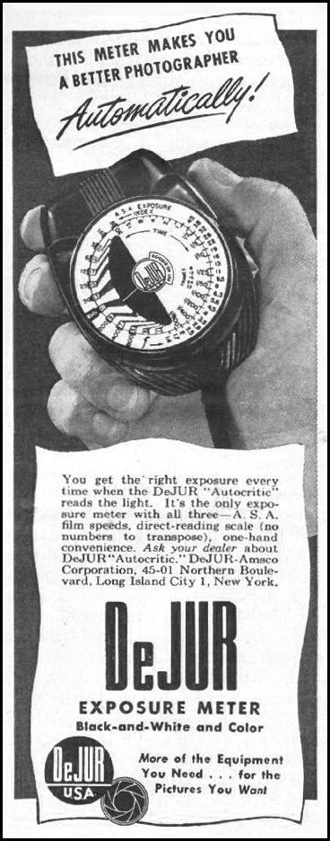 DEJUR EXPOSURE METER LIFE 11/25/1946 p. 52