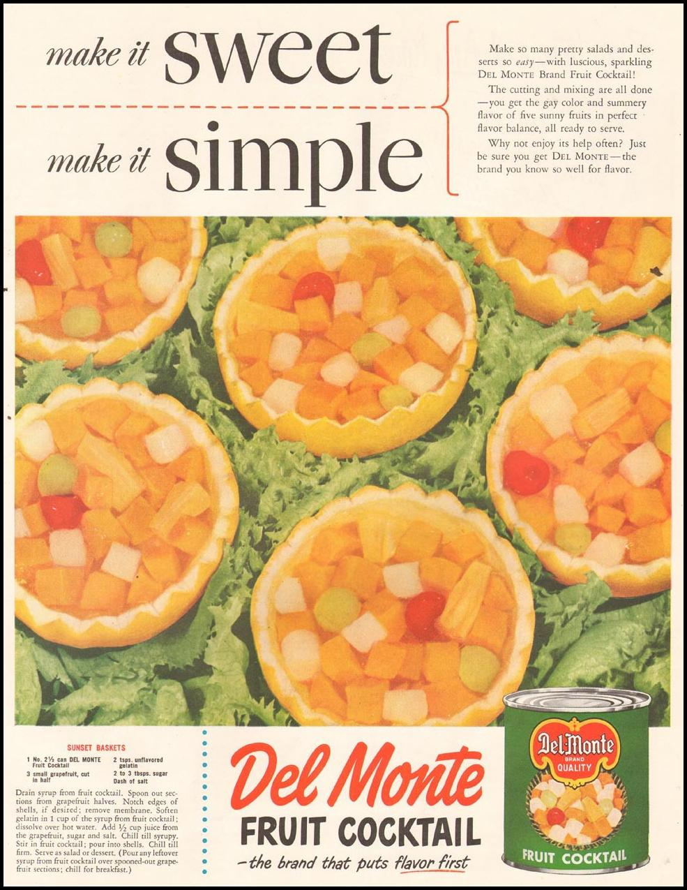 DEL MONTE FRUIT COCKTAIL LADIES' HOME JOURNAL 11/01/1950 p. 105
