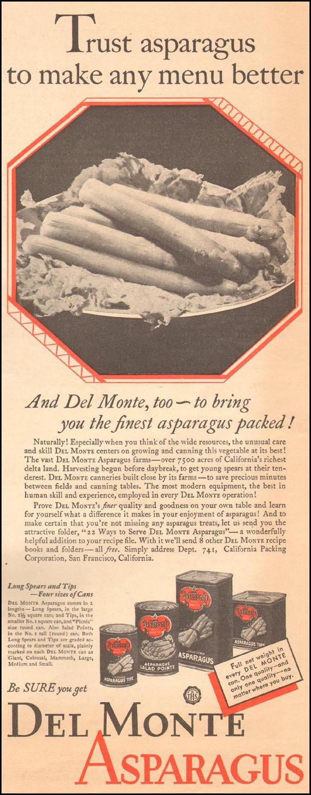 DEL MONTE ASPARAGUS THE HOME MAGAZINE 05/01/1931 p. 15