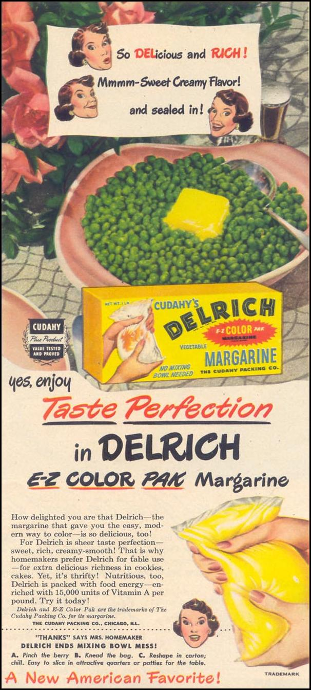 DELRICH E-Z COLOR PAK MARGARINE WOMAN'S DAY 06/01/1949 p. 71