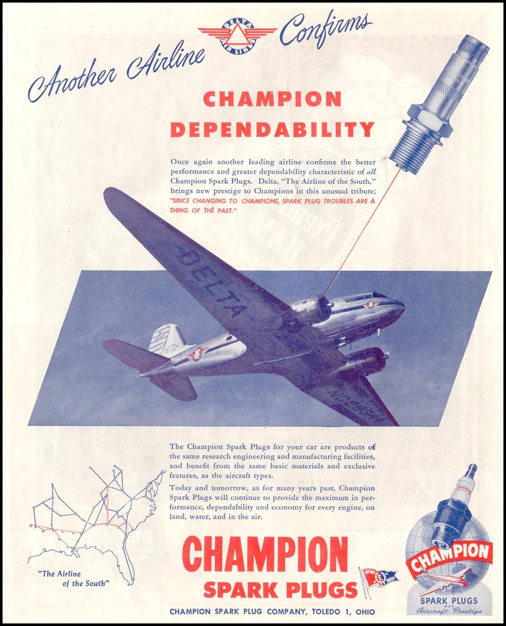 CHAMPION SPARK PLUGS SATURDAY EVENING POST 10/06/1945