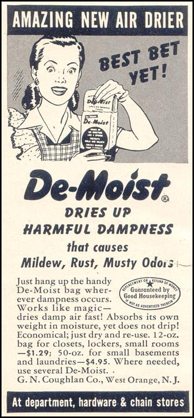 DE-MOIST DEHUMIDIFIER GOOD HOUSEKEEPING 07/01/1949 p. 182