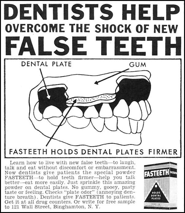 FASTEETH DENTURE ADHESIVE FAMILY CIRCLE 02/01/1957 p. 84