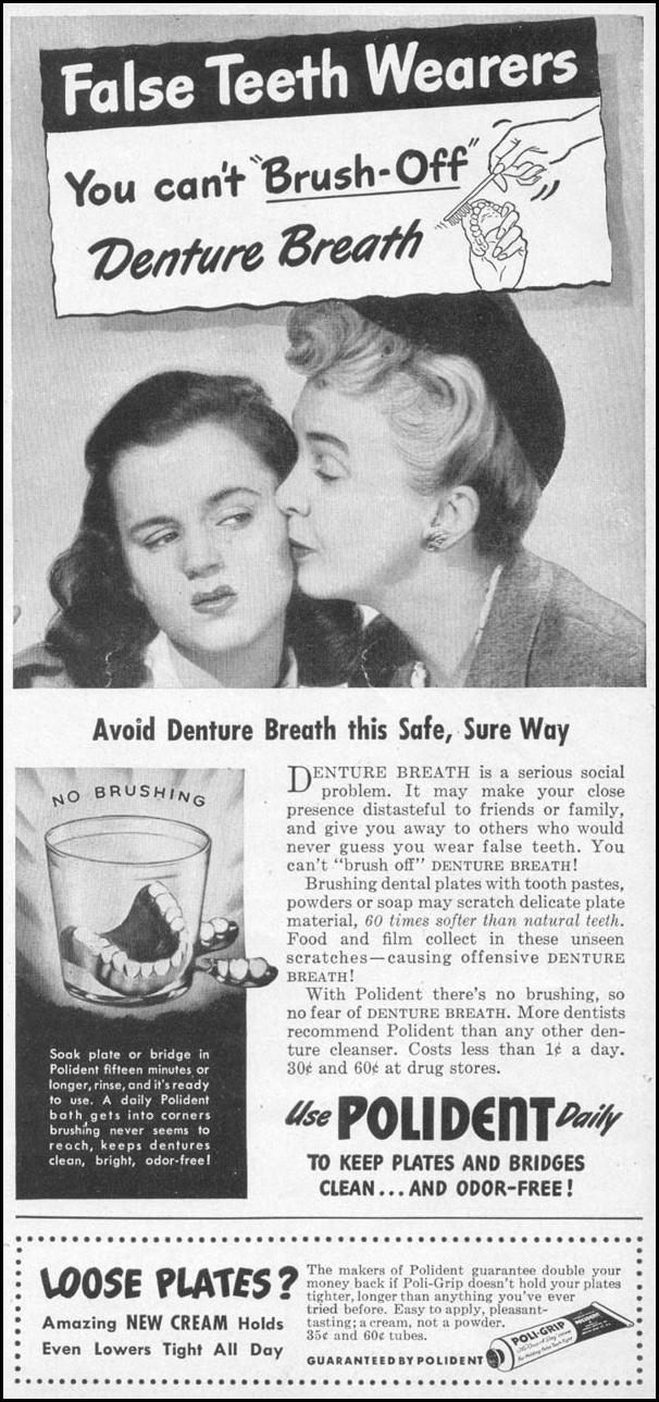 POLIDENT DENTURE CLEANSER WOMAN'S DAY 05/01/1947 p. 99