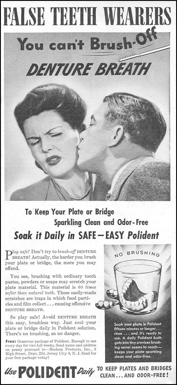 POLIDENT DENTURE CLEANSER WOMAN'S DAY 11/01/1945 p. 97