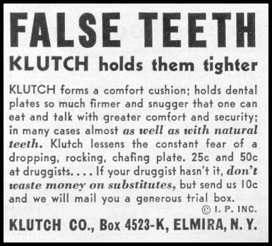 KLUTCH DENTURE ADHESIVE WOMAN'S DAY 11/01/1945 p. 109