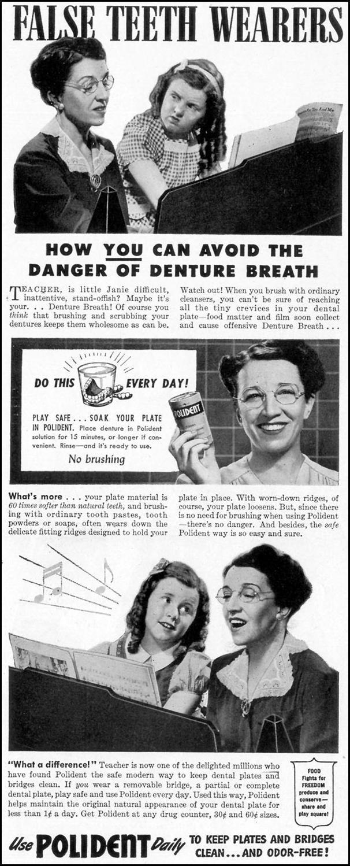 POLIDENT DENTURE CLEANSER LIFE 02/21/1944 p. 125