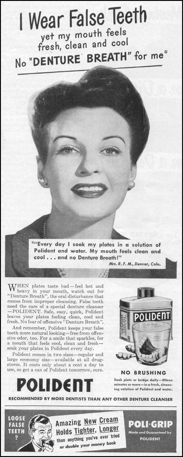 POLIDENT DENTURE CLEANSER LIFE 06/05/1950 p. 101