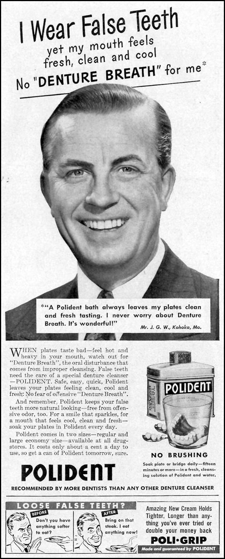 POLIDENT DENTURE CLEANSER LIFE 11/15/1948 p. 129
