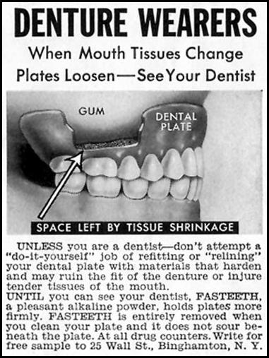 FASTEETH DENTURE ADHESIVE SATURDAY EVENING POST 05/02/1959 p. 95