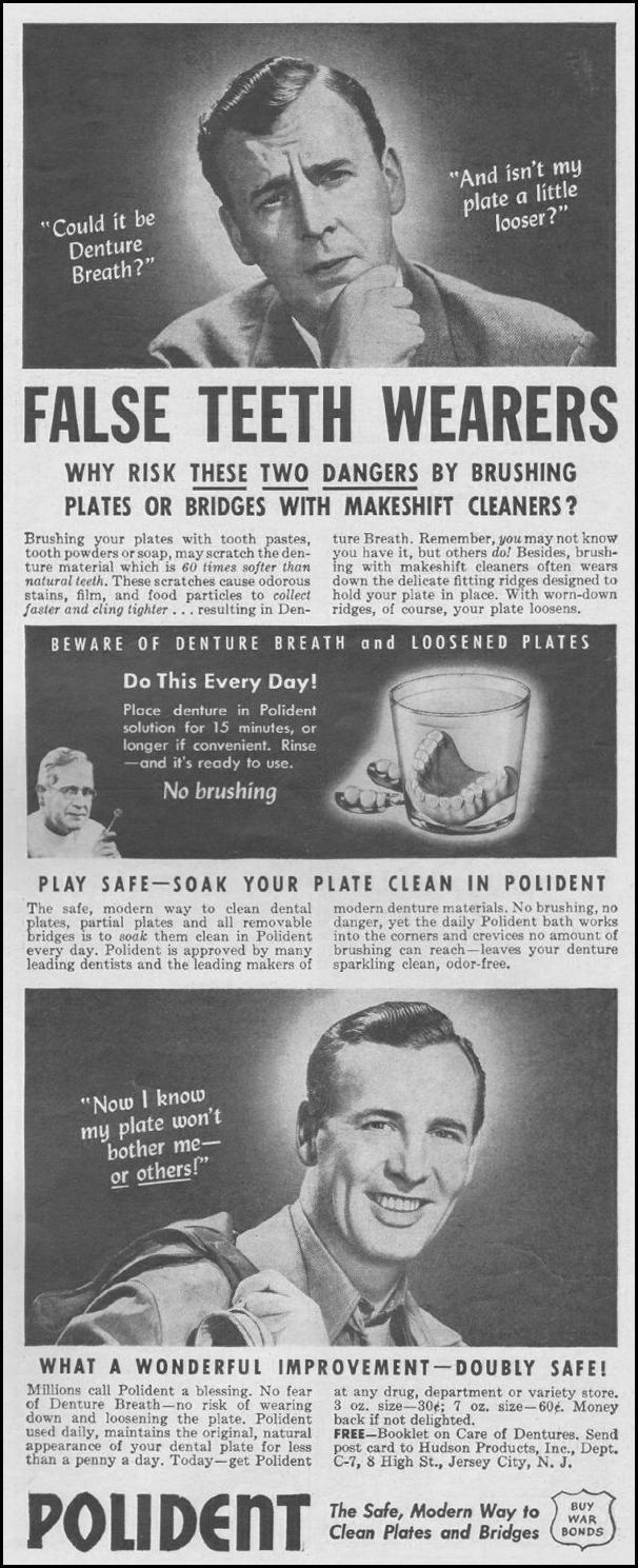 POLIDENT DENTURE CLEANSER LIFE 06/22/1942 p. 87