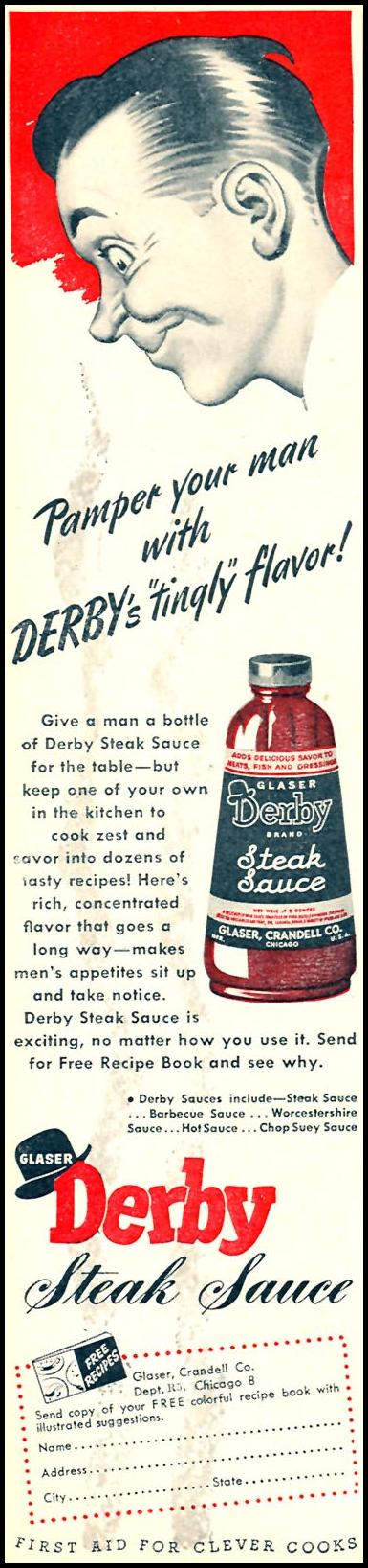DERBY STEAK SAUCE WOMAN'S DAY 05/01/1946 p. 52