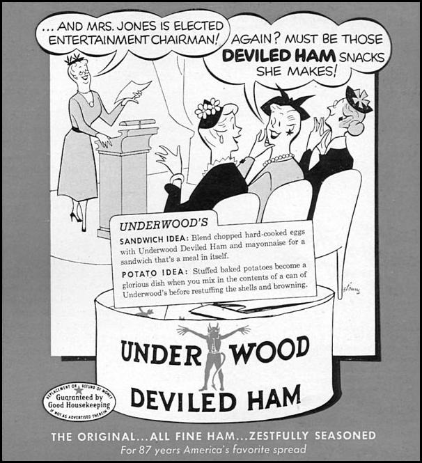 UNDERWOOD DEVILED HAM WOMAN'S DAY 02/01/1954 p. 161