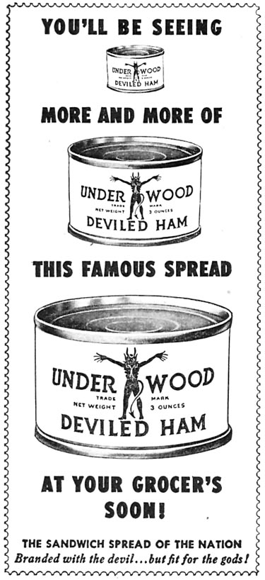 UNDERWOOD DEVILED HAM WOMAN'S DAY 04/01/1946 p. 95