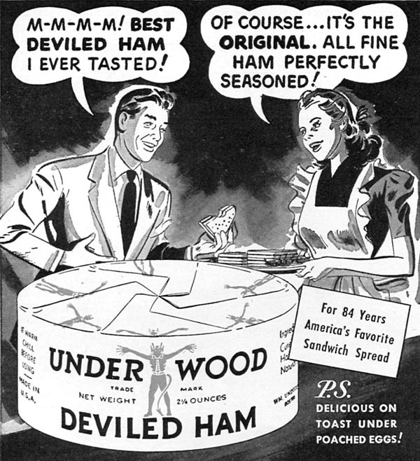UNDERWOOD DEVILED HAM WOMAN'S DAY 04/01/1949 p. 114