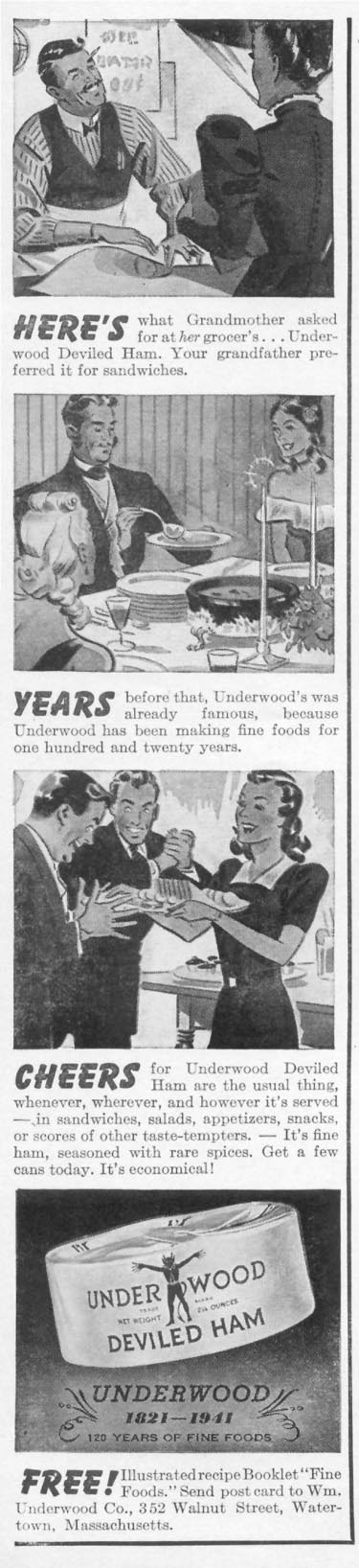 UNDERWOOD DEVILED HAM WOMAN'S DAY 05/01/1941 p. 6