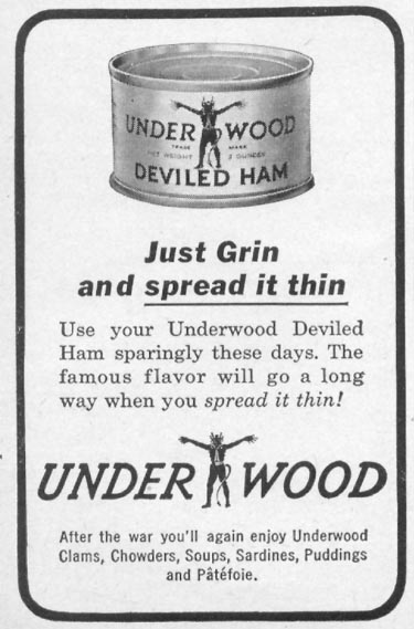 UNDERWOOD DEVILED HAM WOMAN'S DAY 05/01/1943 p. 66