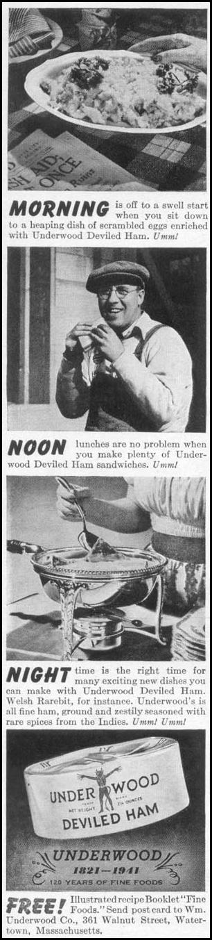 UNDERWOOD DEVILED HAM WOMAN'S DAY 06/01/1941 p. 48