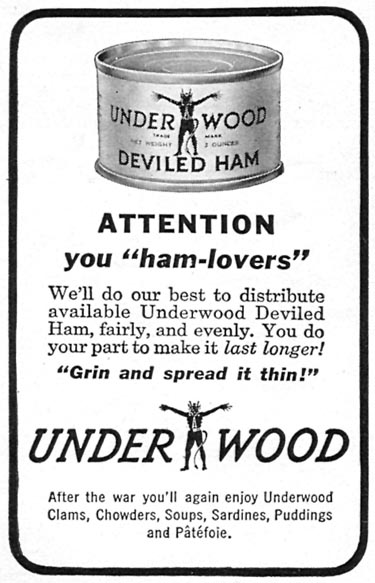 UNDERWOOD DELIVED HAM WOMAN'S DAY 06/01/1943 p. 52
