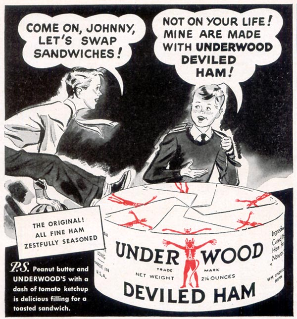 UNDERWOOD DEVILED HAM WOMAN'S DAY 06/01/1949 p. 98