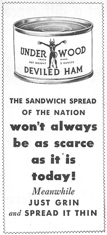 UNDERWOOD DEVILED HAM WOMAN'S DAY 07/01/1946 p. 78