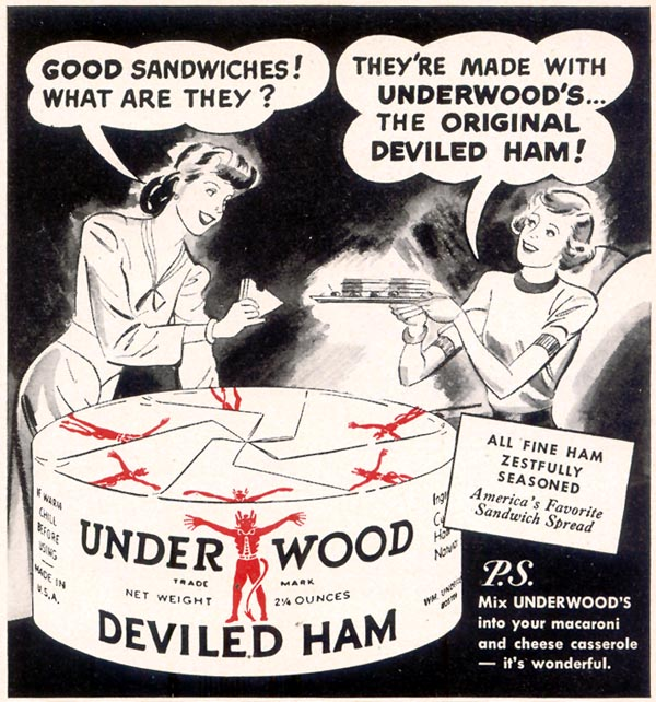 UNDERWOOD DEVILED HAM WOMAN'S DAY 07/01/1949 p. 89