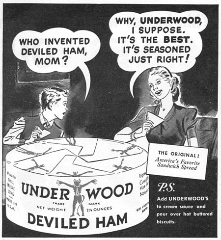 UNDERWOOD DEVILED HAM WOMAN'S DAY 08/01/1949 p. 80