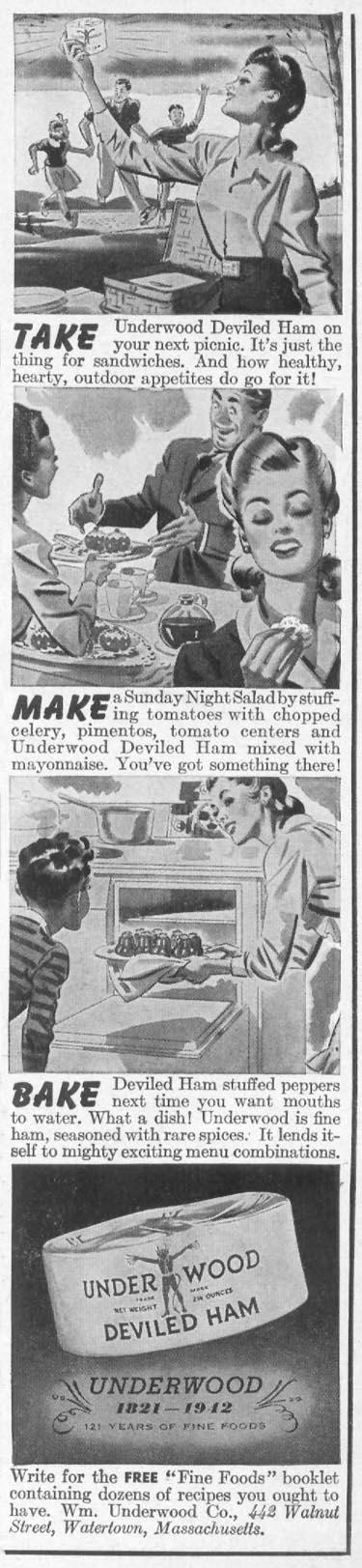 UNDERWOOD DEVILED HAM WOMAN'S DAY 09/01/1942 p. 7