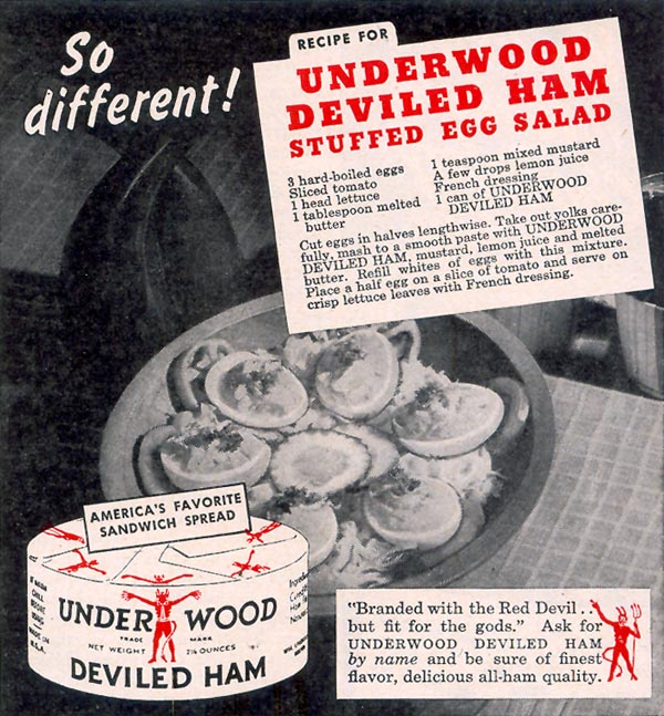 UNDERWOOD DEVILED HAM WOMAN'S DAY 09/01/1948 p. 115