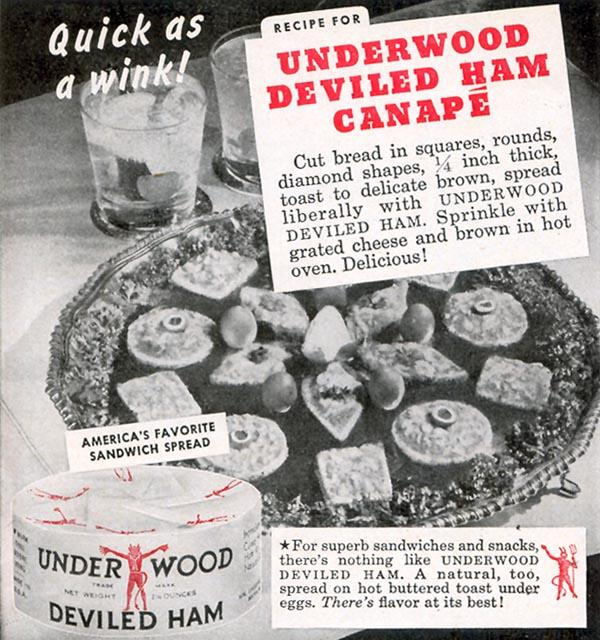 UNDERWOOD DEVILED HAM WOMAN'S DAY 10/01/1948 p. 122