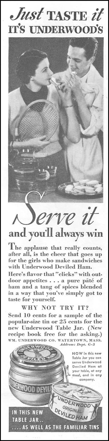 UNDERWOOD DEVILED HAM GOOD HOUSEKEEPING 06/01/1935 p. 156