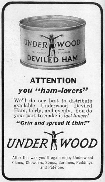 UNDERWOOD DEVILED HAM LIFE 11/08/1943 p. 110