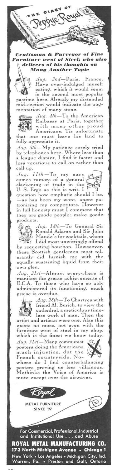 STEEL OFFICE FURNITURE NEWSWEEK 09/03/1951 p. 60